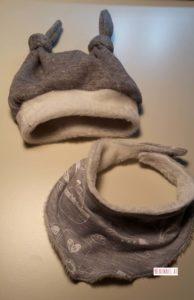 Haube grau mit Halstuch